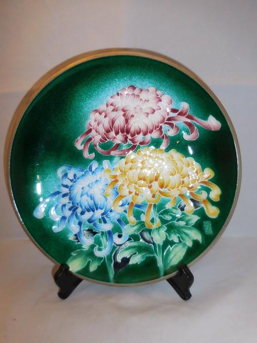 七宝菊飾り皿 cloisonne enamel plate(chrysanthemum)