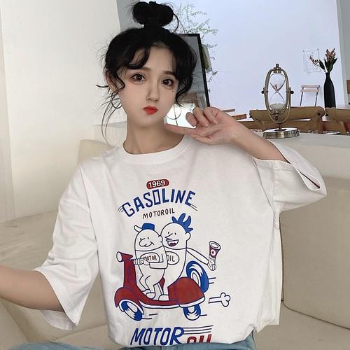 【トップス】chicゆったり韓国風ins人気ファッションbf合わせやすいTシャツ