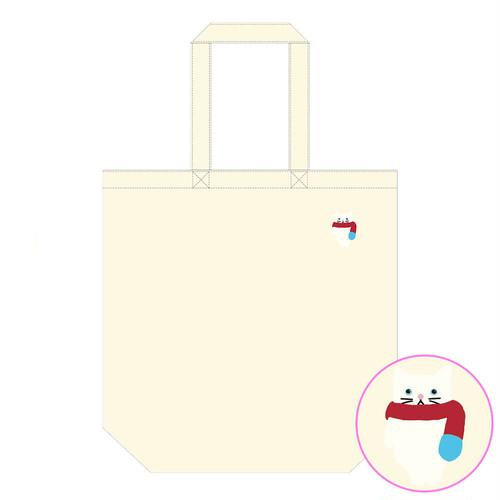 【4/21発売】マフニャー猫 (白)刺繍入りトートバッグ(ナチュラル)