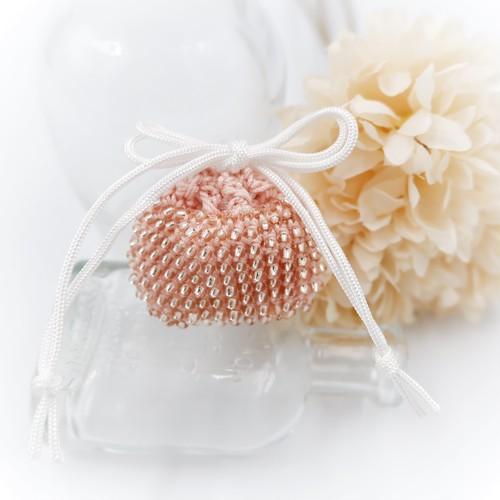 MinikinS ビーズ編みのミニミニ巾着*ピンクシルバー