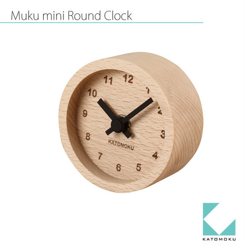 KATOMOKU mini round clock km-26黒