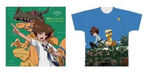 Butter-Fly Music Library  宇木敦哉氏描きおろしKOJI WADA DIGIMON MEMORIAL BEST-sketch2-柄 [フルグラフィックTシャツ付]