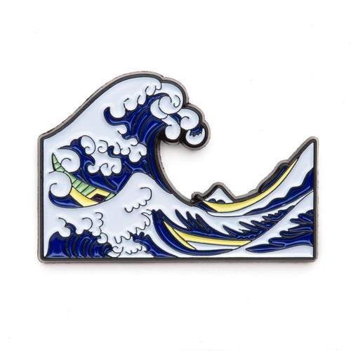 """Today Is Art Day ピンバッジ ソフト エナメル """"The Great Wave off Kanagawa by Hokusai"""" AJ00430"""