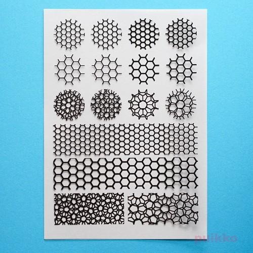 六角形のパターン2 レジン封入用フィルム
