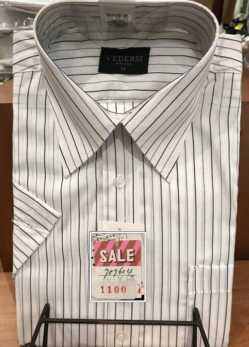 (衿回り39 半袖)形態安定加工 カッターシャツ VEDERSI 白地に濃いめストライプ