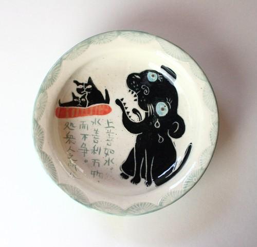 老子の「上善如水・・」と猫の皿・Dish of cat and Lao-tze・Yakimono
