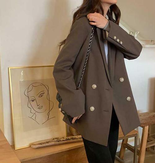 テーラードジャケット アウター ビッグシルエット ゆったり 長袖 無地 カジュアル レトロ 韓国 オルチャン ファッション