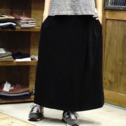 【おとなサイズ】10年履ける!旧式吊り編み機織 おとなのロングスカート ブラック/ネイビー
