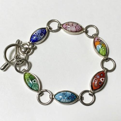 Vintage Millefiori Murano Glass 925 Silver Link Bracelet