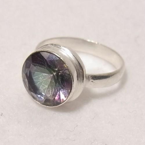 天然石ミスティックトパーズの銀張りリング size 10  指輪のセール通販 5607R