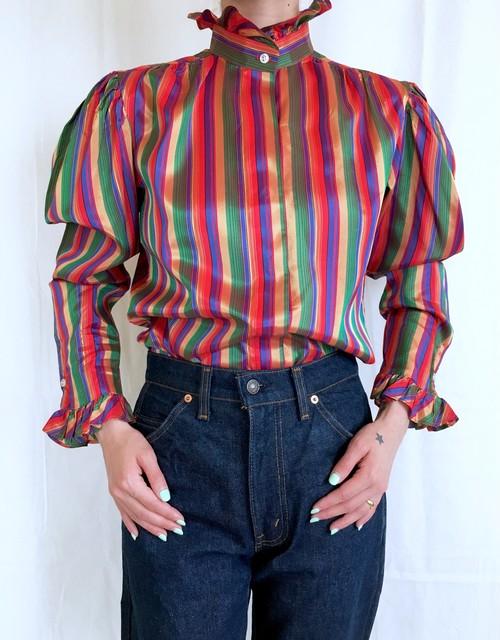 vintage stripe frill blouse