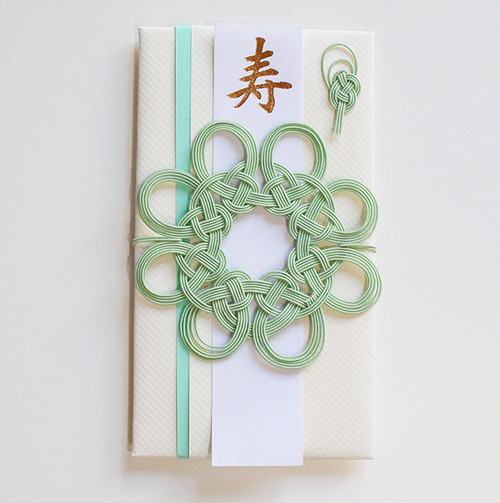 コースターとして使える 花まるご祝儀袋(ミントグリーン)