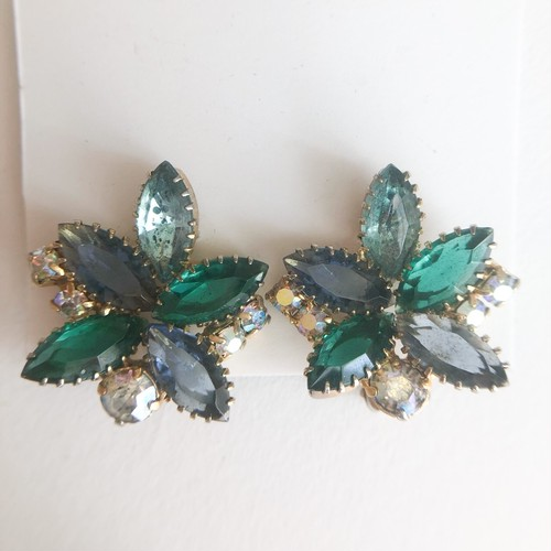 blue green rhinestone earring[e-1239] ヴィンテージイヤリング