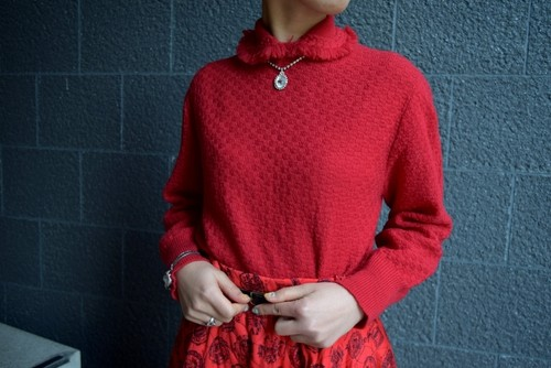 VINTAGE red chenille knit sweater