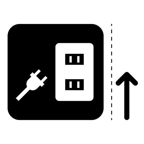 コンセント案内マーク(矢印付き)のカッティングシートステッカー