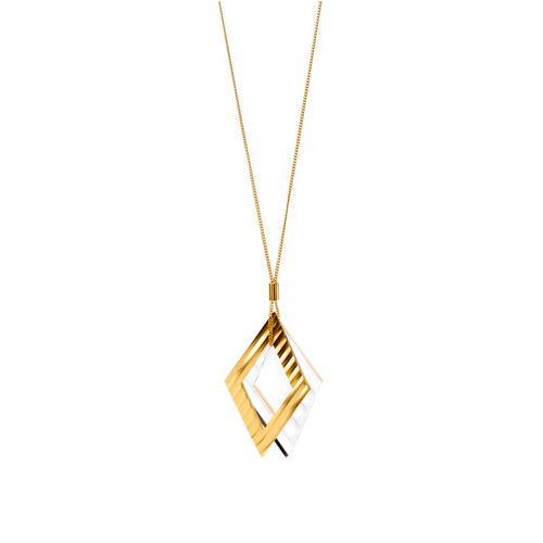 Wave Pattern Motif Necklace - Gold
