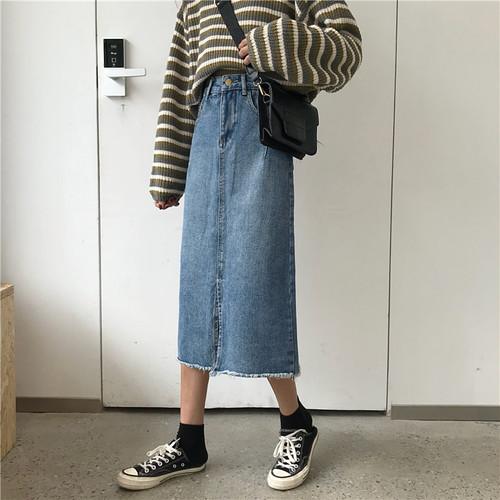 ミドル丈 デニム スカート b220