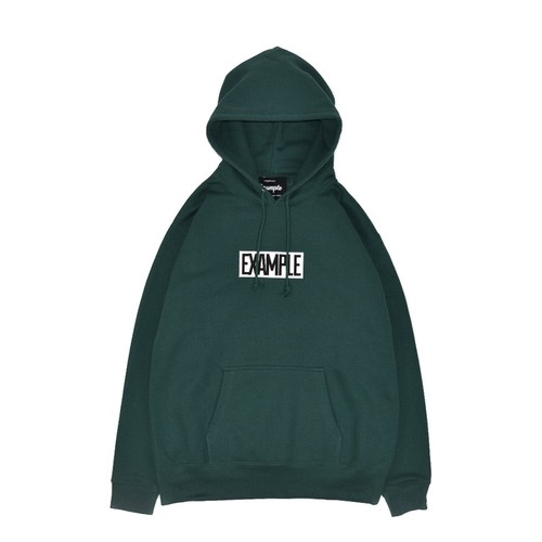 SQUARE EMBROIDERY LOGO HOODIE / GREEN