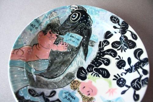 歌川国芳の金太郎とEmilyのお皿 /陶芸家/陶器/金太郎/Japanese ceramic/pottery