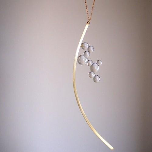 ◯⚪︎⚪︎necklace『glass+brass jewelry』