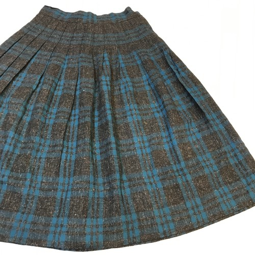 50s wool check pleats skirt