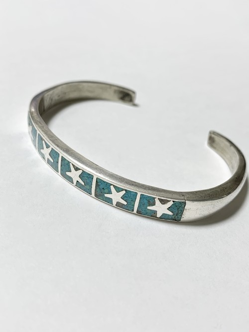 Vintage Inlaid Crushed Turquoise 925 Silver Bangle Made In Mexico