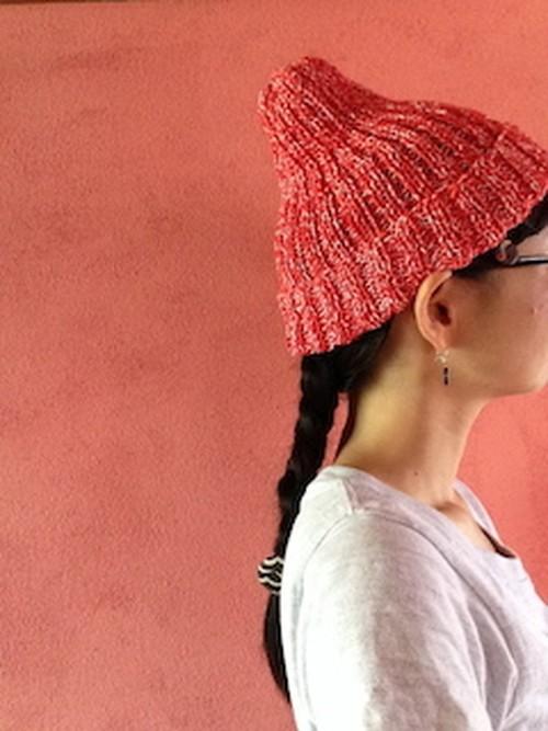 なつのゴム編みcap  (針なし)【編み物キット】