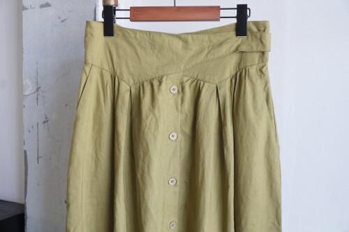 90's mustard linen sash waist Skirt