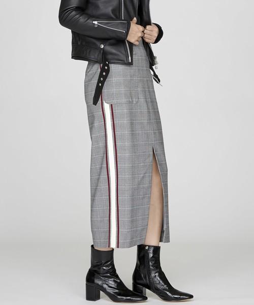 サイドラインハイウエストスカート(グレー)