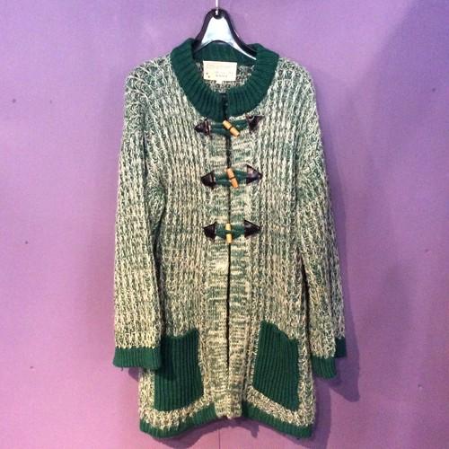 70's Green knit cardigan [B1261]