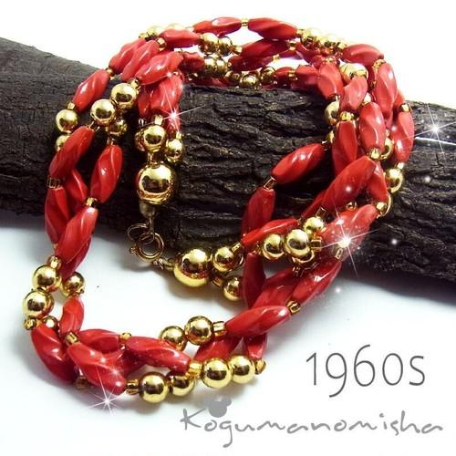 鮮やかな赤★ルーサイトビーズ3連 チョーカー ヴィンテージ ネックレス 1960s