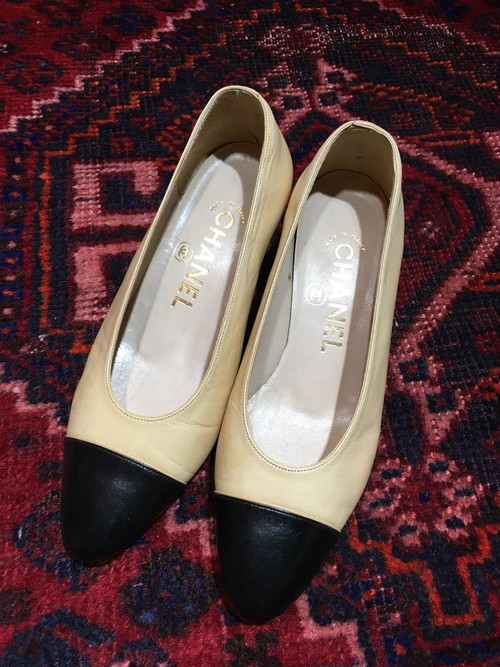 .CHANEL BICOLOR LEATHER HEEL PUPMS MADE IN  ITALY/シャネルバイカラーレザーヒールパンプス 2000000036694