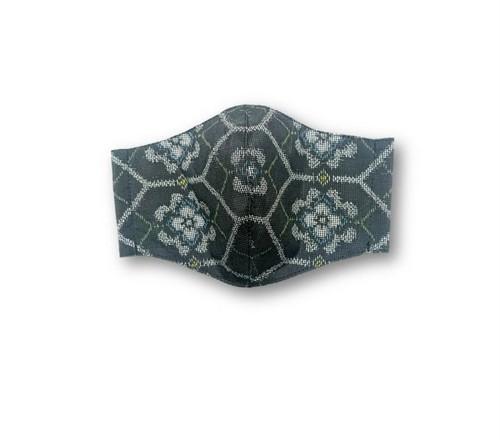 ML37 大島紬マスク(Lサイズ・黒・亀甲と花)