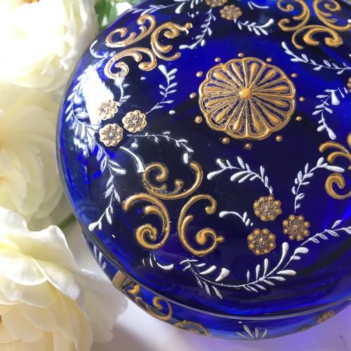 ボヘミアンガラスのキャンディポット(青)