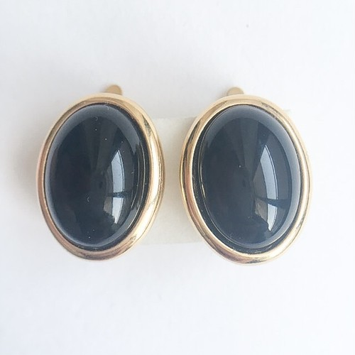 """Trifari"" black earring[e-840]"