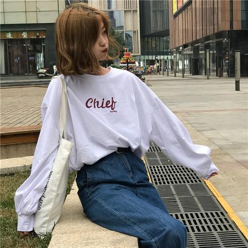 【送料無料】 英字ロゴがアクセント♡ ゆったり オーバーサイズ ビッグシルエット ボリューム袖 ロンT