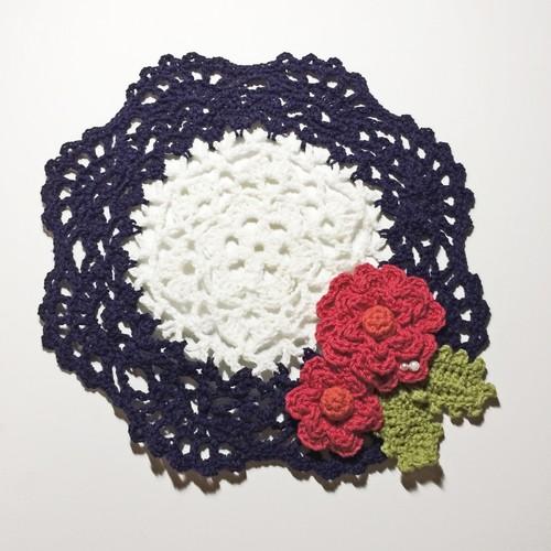 手編みコットンドイリー バラ赤