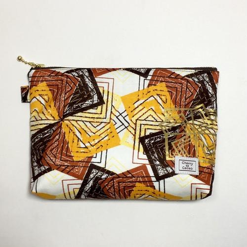 ポーチ アフリカンテキスタイル(日本縫製) 「風車」ブラウン イエロー ホワイト ゴールド|アフリカ エスニック ガーナ布