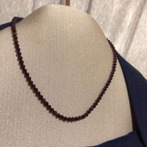 【ガーネット】天然石 ざくろ石 デザインカット ネックレス 18金 未使用品