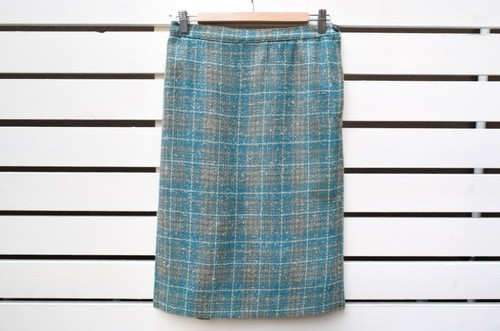 VINTAGE light blue check wool straight skirt