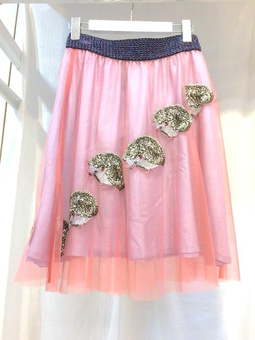 あちゃちゅむ  ハリネズミ刺繍スカート
