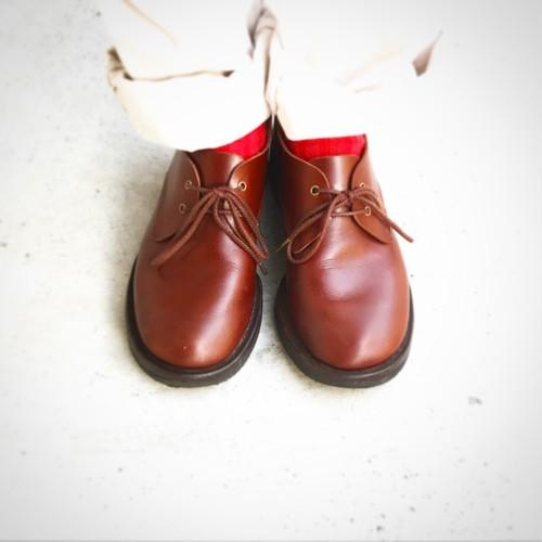 【受注生産】天然牛革 オイルレザーのソトバネ靴(レディース・メンズ/茶)