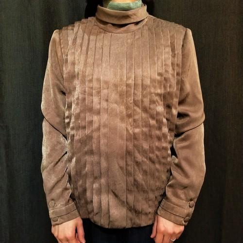 Roll collar tuck blouse [G-1045]