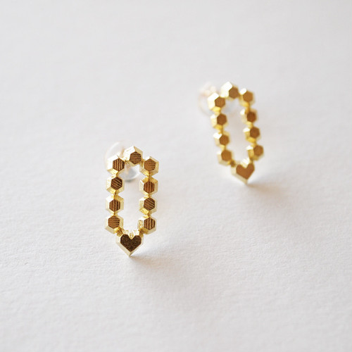 Hex stud earrings - Pencil