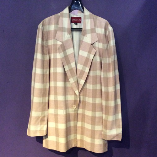 80's  pink check tailored  jacket [B1245]