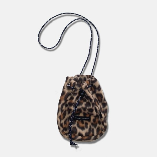 WCH Fleece Drawstring Poach -Leopard