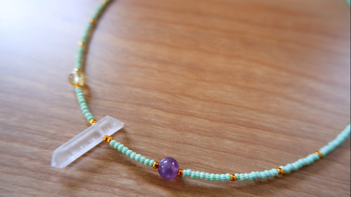 Citrine & Amethyst & Crystal Quartz Natural Point  Beads Necklace