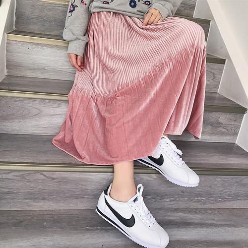 プリーツベロアロングスカート ベルベット ピンク