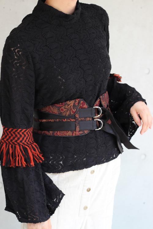 【 EBONY】flap belt-paisley