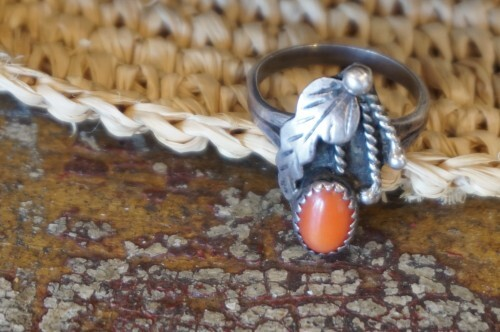 old Navajo silver coral Ring